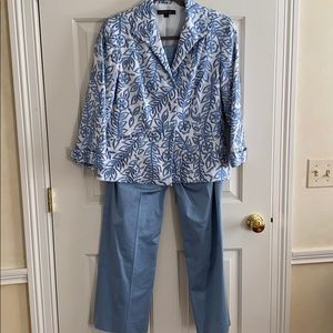 LaFayette blue pant suit embroidery jacket